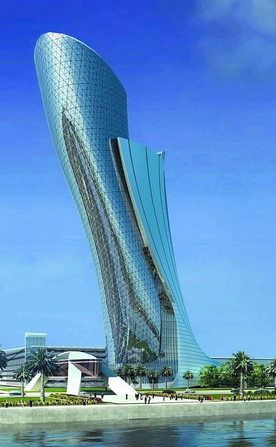 Capital Gate Building Which Leans A Record Breaking 18 Degrees The Hyatt Hotel Is Also Part Of Abu Dhabi National Exhibition Centre ADNEC