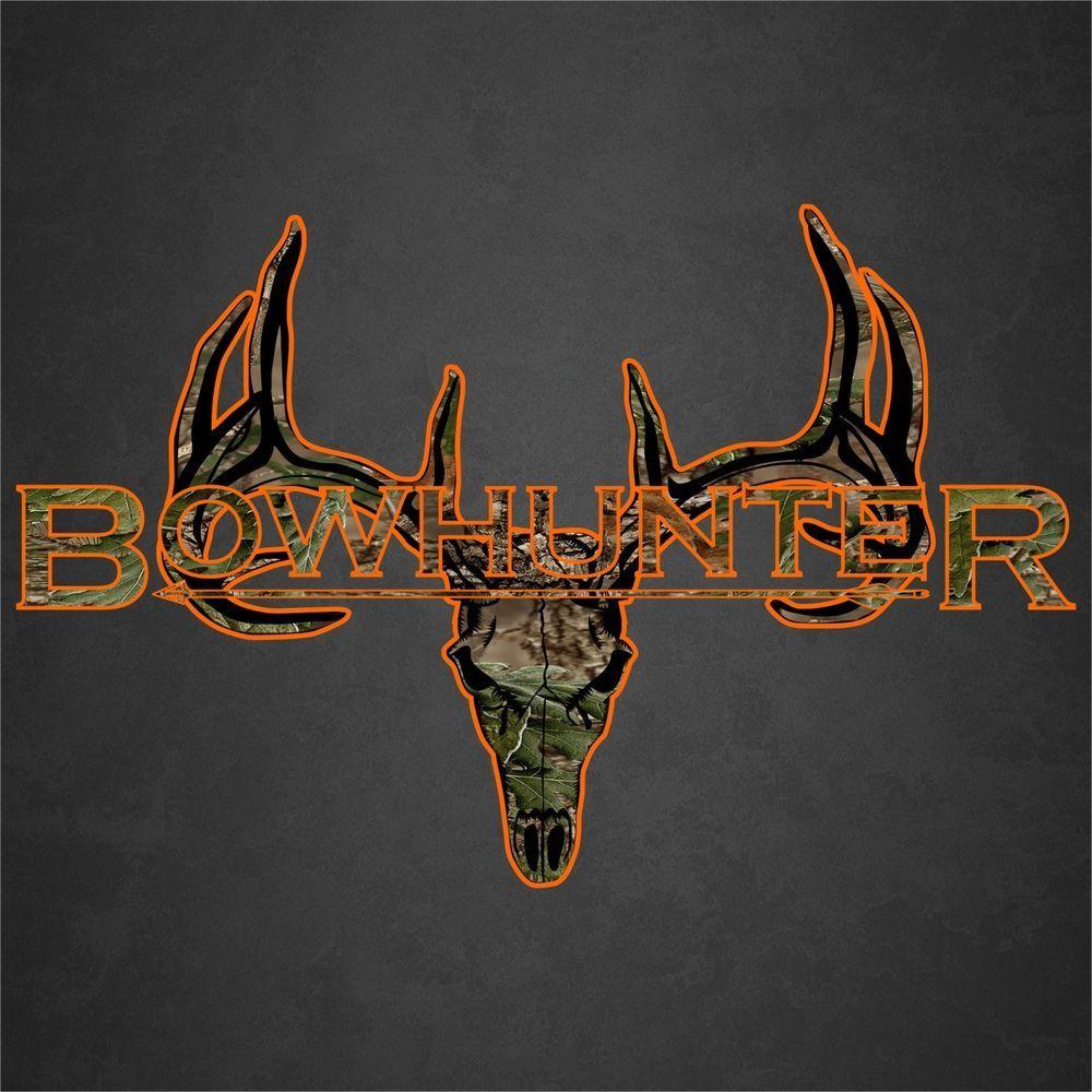 bow hunter deer skull decal sticker camo orange buck car