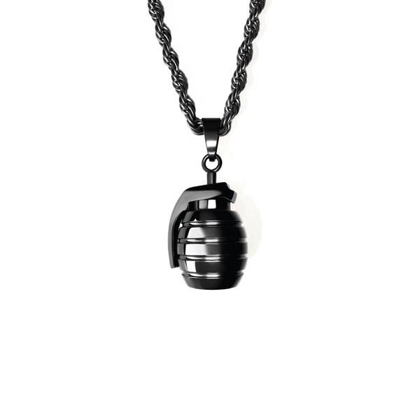 Fashion Grenade Stainless Steel Charm Necklace Pendant DIY Jewelry Gold