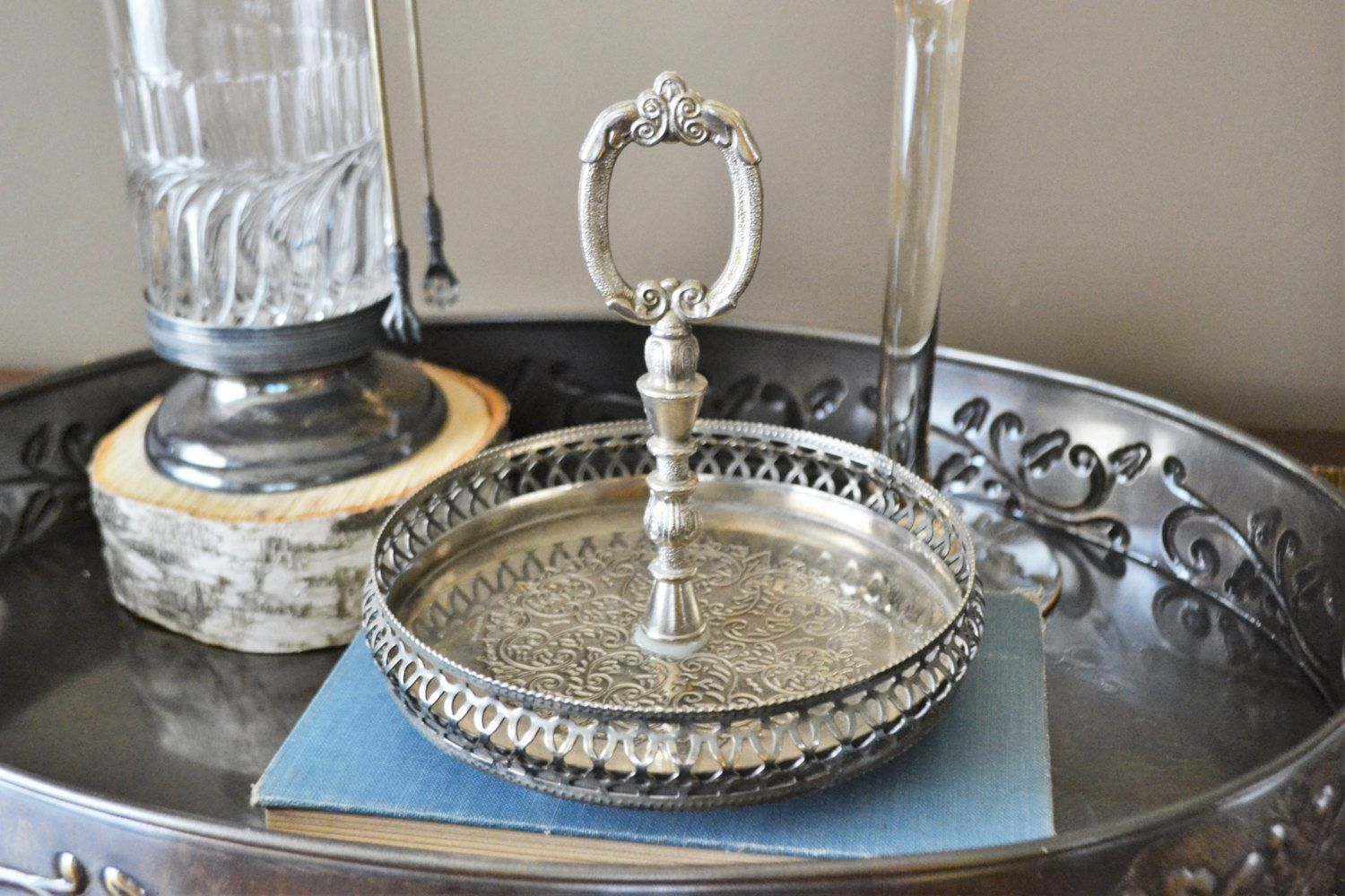 Vintage Silver Plated Candy Dish with Handle Made in