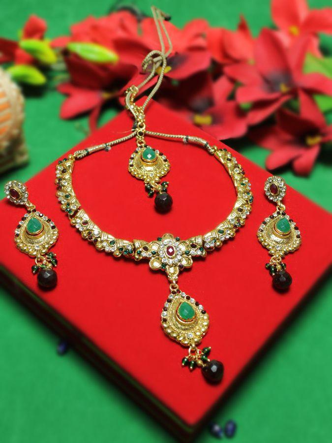Maroon Drop Gold Plated Kundan Necklace Set Jewelry Set Design
