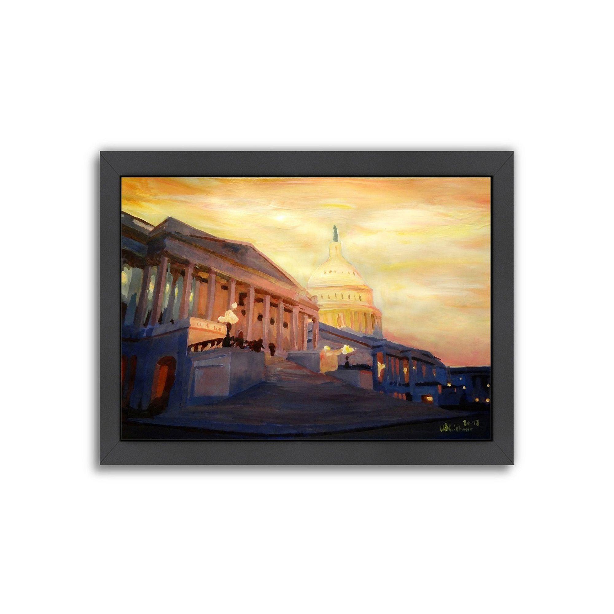 Capitol At Night Washington Washington DC Print On Canvas By Leonid Afremov
