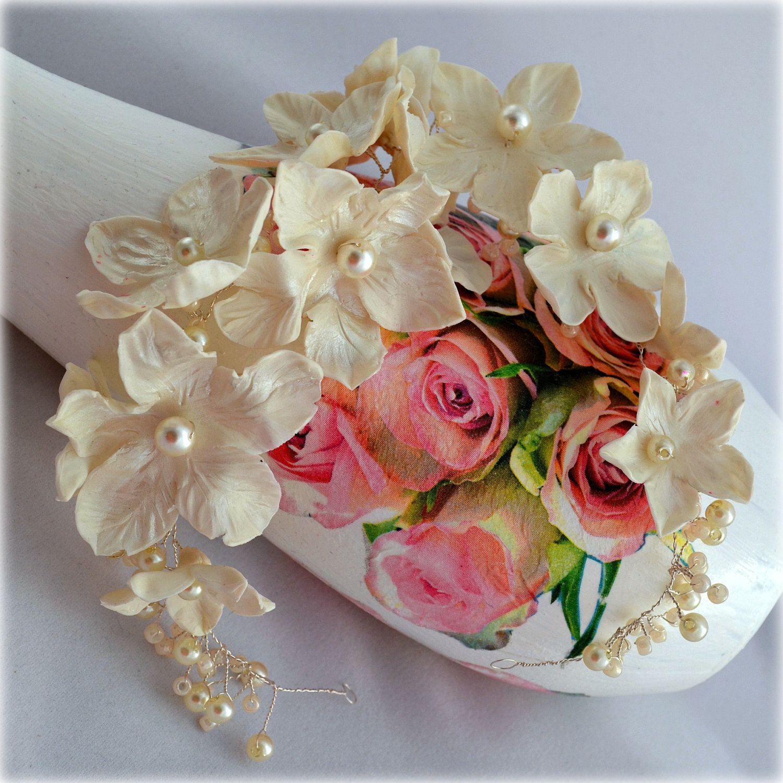 Trendy bridal headpiece - Flower Crown Ivory Bridal Wreath Delicate Floral Hair Vine Unique Wedding Headpiece For