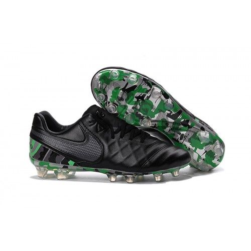 Outlet Nike Tiempo Legend VI FG Football Boots Black Green
