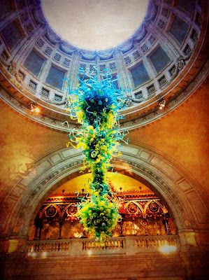 My photo of the massive Chihuly installation at the V&A Museum in London. Ironically the day before I saw Dale Chihuly at the David Hockney exhibit at the Royal Academy of Art.