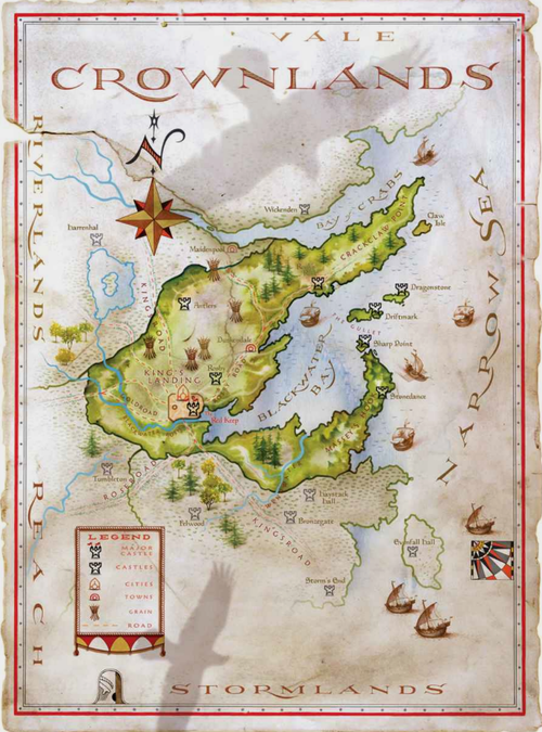 The World of Ice and Fire Art Map of the Crownlands twoiaf