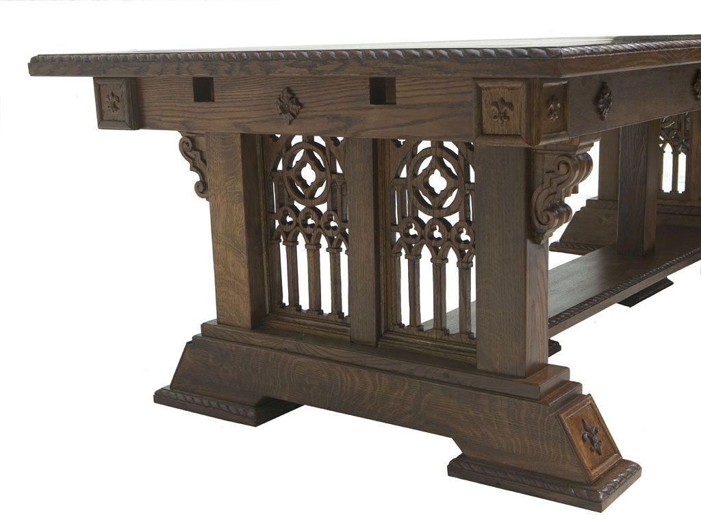 Modern Gothic | Solid Quarter Sawn Oak Gothic Dining Table Complete   Angle  View