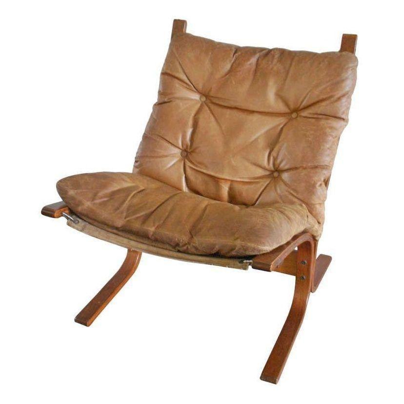 Scandinavian Style Leather Slingback Chair Circa 1960s