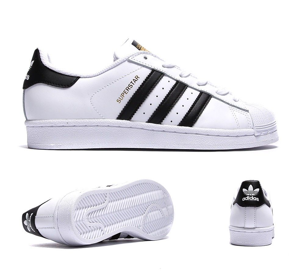 Unisex Adidas Leather White White Junior Superstar Foundation