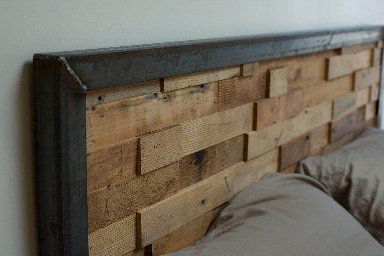 Reclaimed Wood and Iron Steel Headboard. $700.00, via Etsy. | Fab ...
