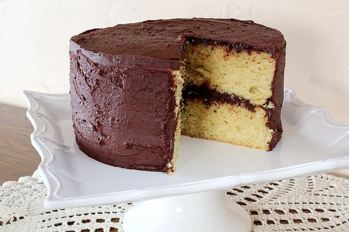 Best Yellow Layer Cake-turned out super yum for Sam's cake. I used one teaspoon vanilla and one almond. Mmm...