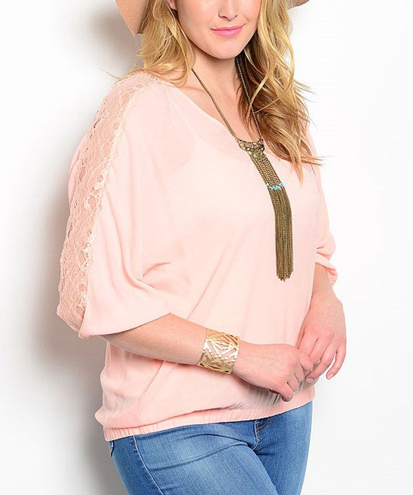 19776072eeb ... accent floral pattern lace make this simple top a lovely addition to  your closet. Banded waist and sleeves. Look at this Peach Dolman Top - Plus  on ...