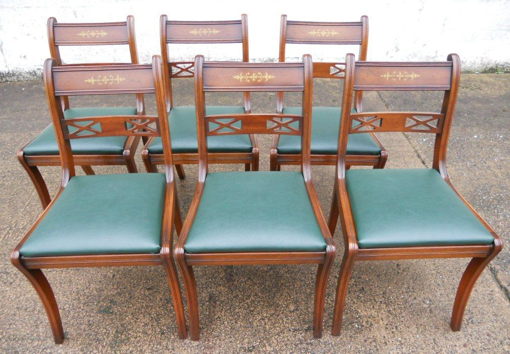 furniture styles set of eight antique regency style brass inlaid mahogany dining chairs