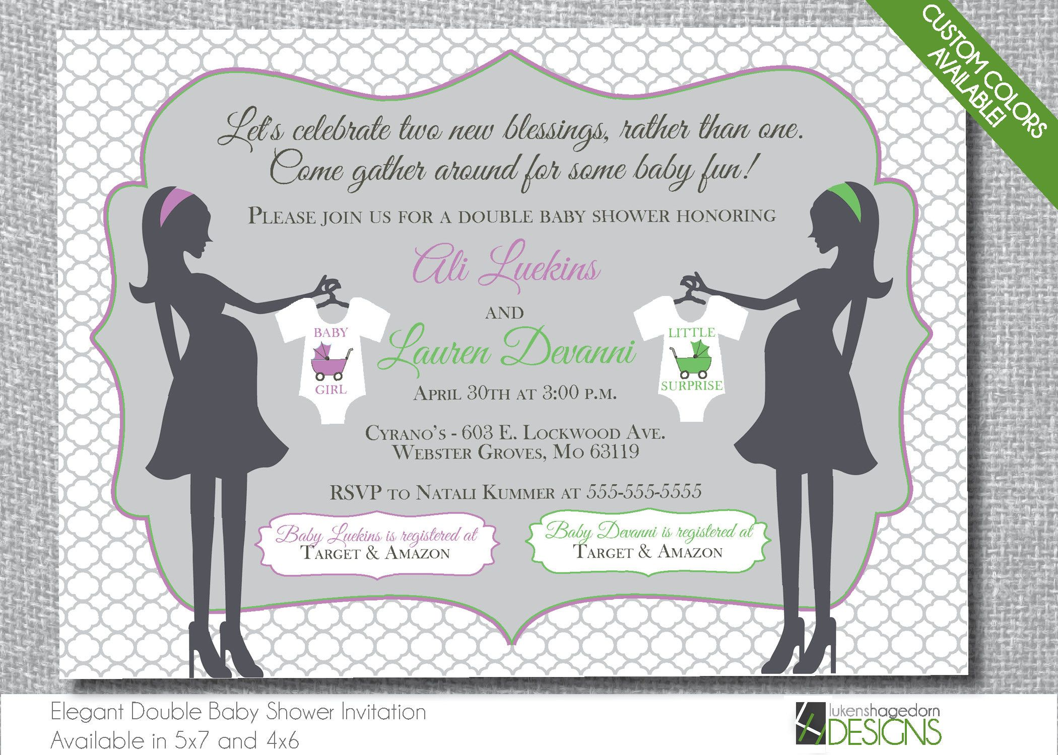 Mothers Double Baby Shower Invitation - Custom Colors - Digital File ...