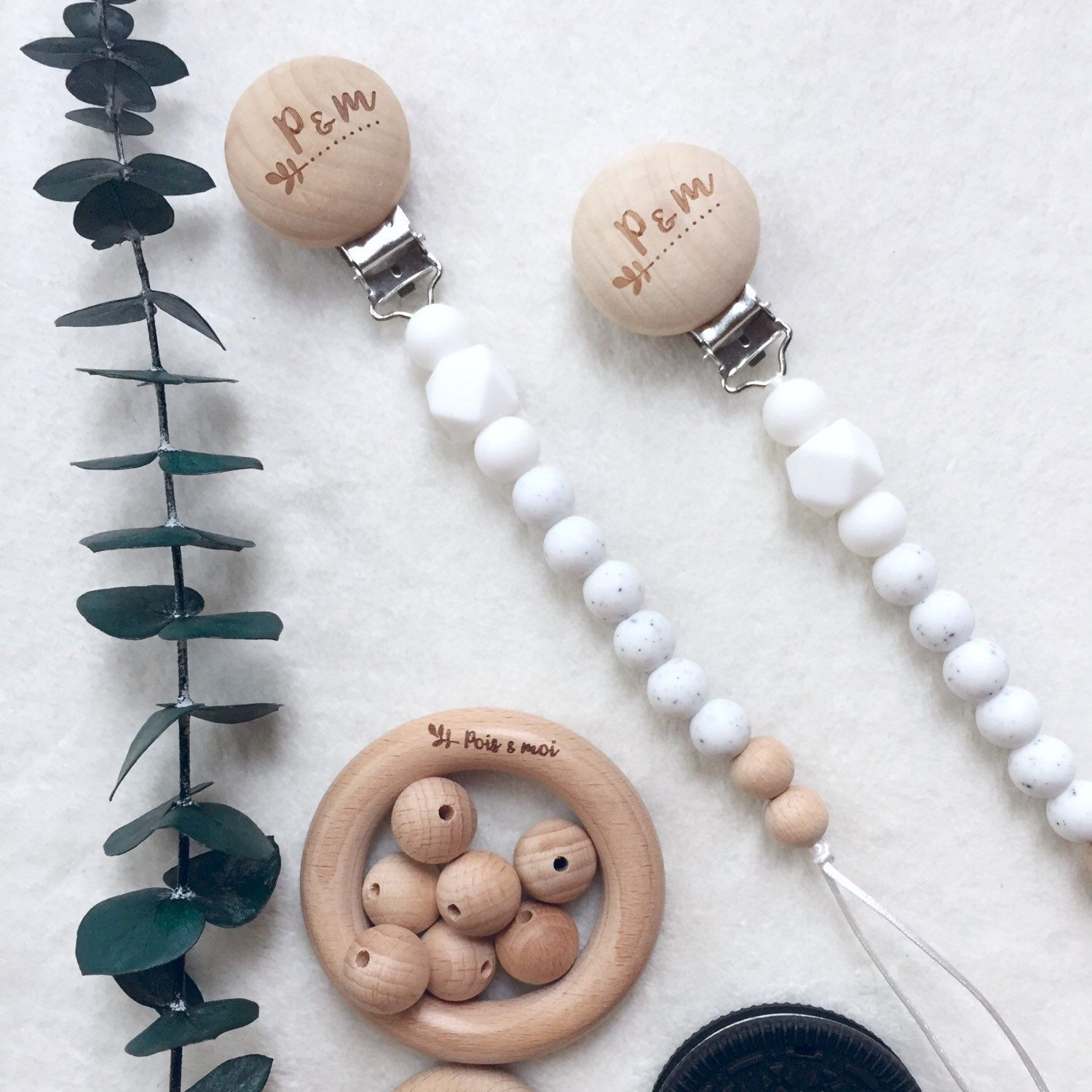 Natural No Paint Wood Pacifier Clip Chain Baby dummy Holder Feeding Teether clip