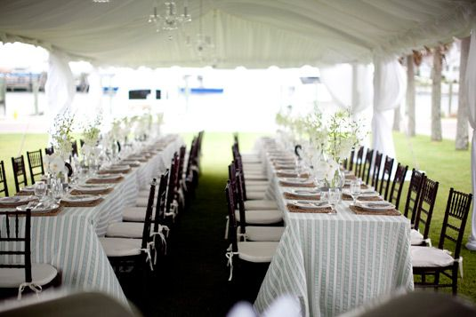 Love The Seersucker Table Linens... Especially With The Black Bamboo Chairs.