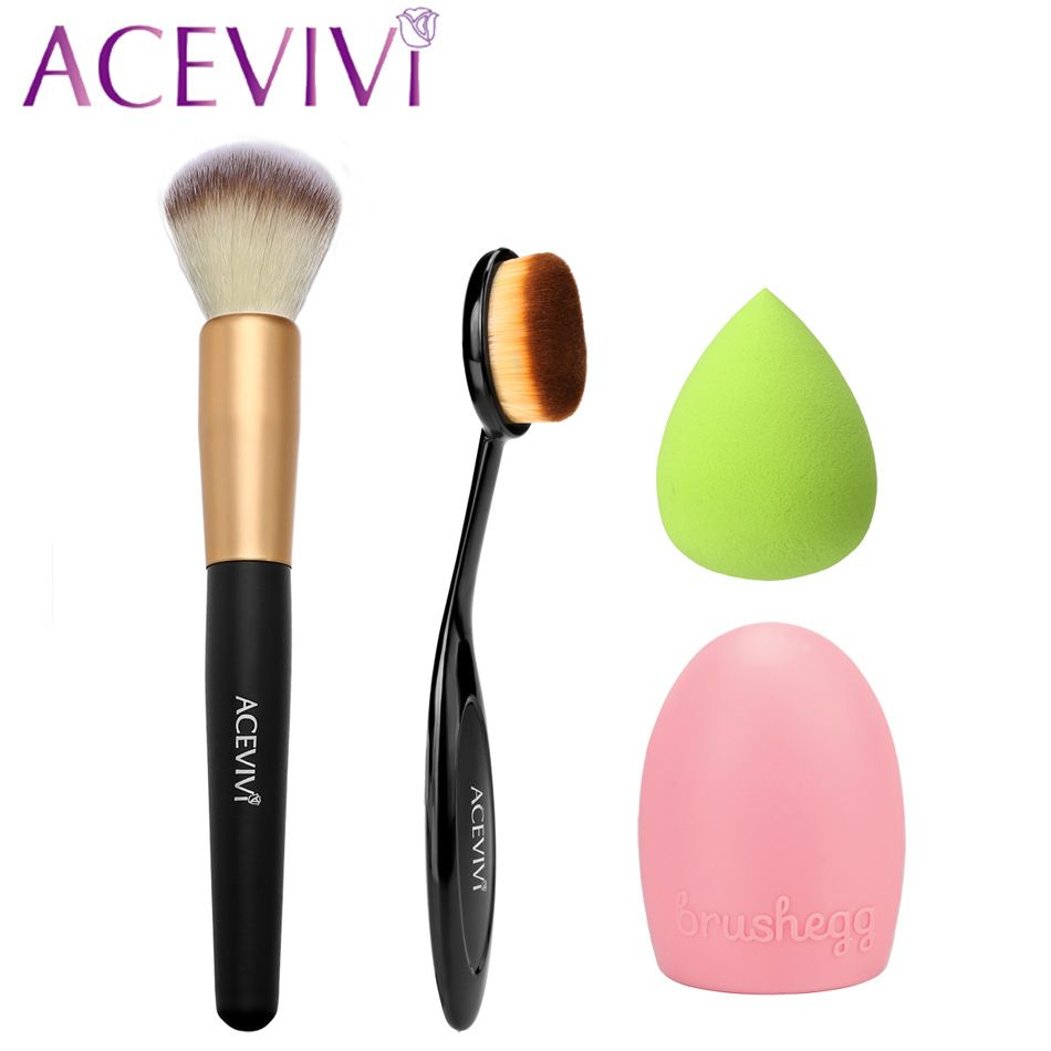 ACEVIVI Cosmetic Tool Makeup Brush Set Beauty Face Powder/ Oval Blush Brush + Puff Sponge + Makeup Brush Cleaner U2