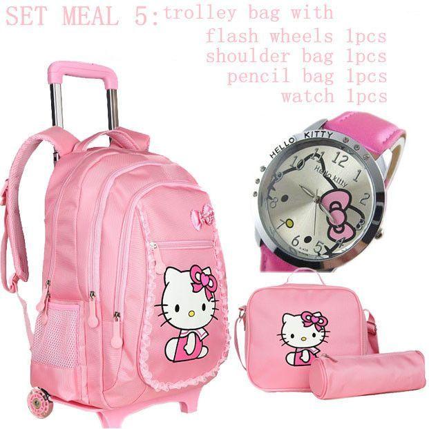 d2bd32e77792 Hello kitty school bags for girls rolling children backpack travel trolley bag  school backpacks wheels bolsas mochilas femininas
