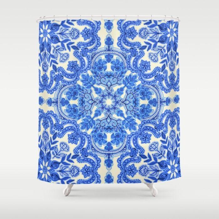 Cobalt Blue & China White Folk Art Pattern Shower Curtain   Shower ...