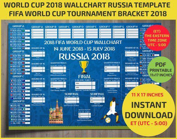 Eastern Time Zone Utc 5 11 17 Inches Wallchart Fifa 2018