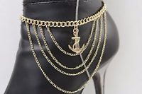 Women Gold Wave Metal Chain Boot Bracelet Anklet Shoe Anchor Charm Bling Jewelry