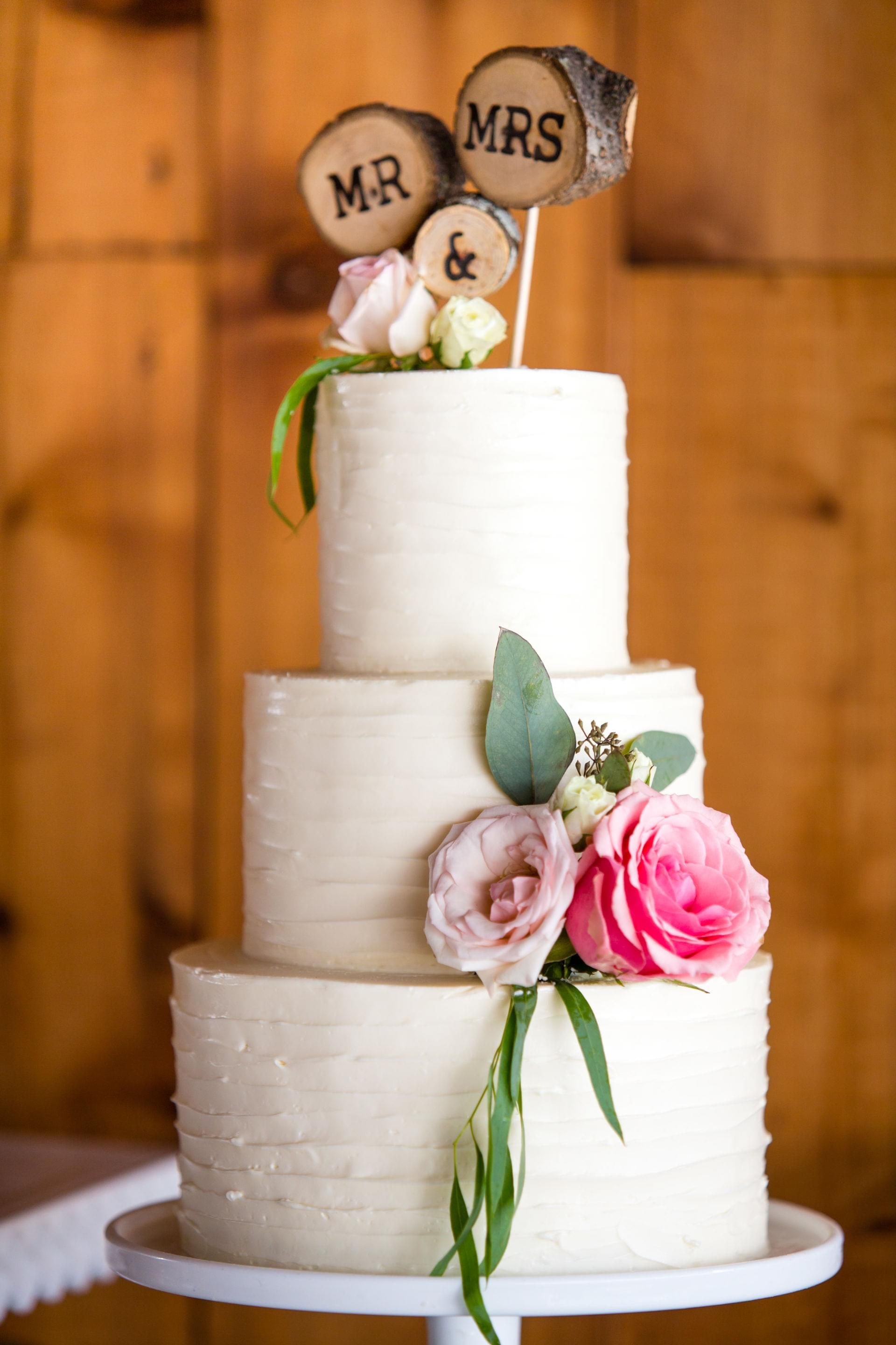 Rustic Mr Mrs Wooden Cake Topper White Wedding Cake Pink Florals M Magee Photography Wedding Cake Toppers Cool Wedding Cakes White Wedding Cakes