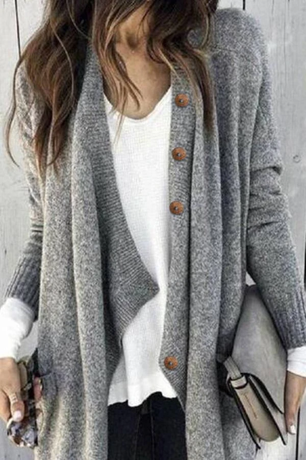 Photo of Paneled Solid Buttons Down Casual Knitted Cardigan