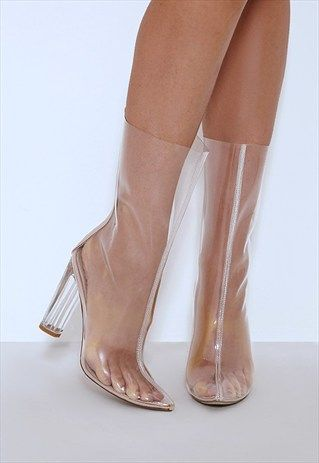a6e2bf89e9b Amy+Clear+Perspex+Heeled+Boot