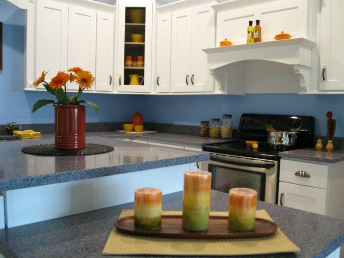 wandgestaltung küche blaue wände kerzen blumen Ideen Kü Pinterest - kuche blaue wande
