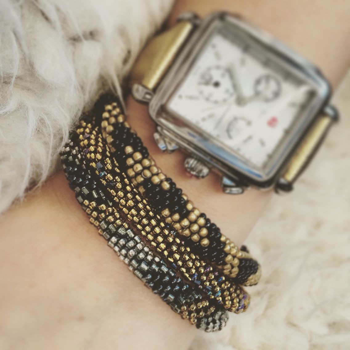 Feeling cozy on this yucky #Wednesday #LLOTD soft golds and titanium to complete this #humpday look! #OOTD #LeiLei #Nepal #handmade #bracelets #michele #armcandy #savinglives #fairtrade #goodcause #helpthecause #wearthecause #furvest #michelewatch