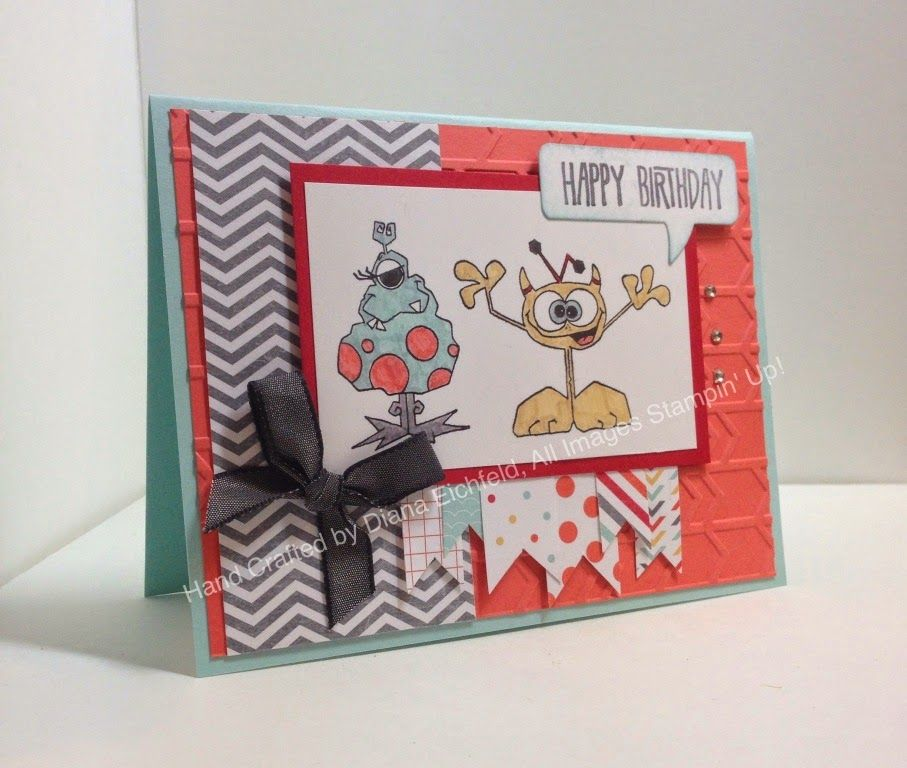 Stampin' Fun with Diana: Paper Craft Crew Sketch Challenge: Monstermainiacs, Remembering Your Birthday, Big Shot, Framelits, Stampin' Up, Diana Eichfeld, Birthday