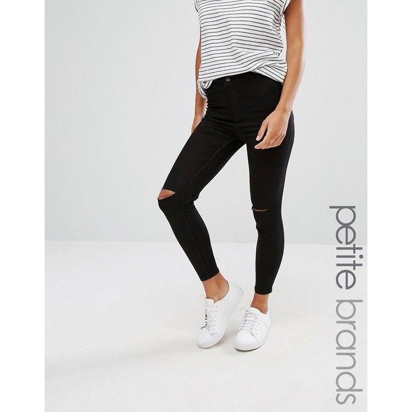 a465bc802e996d New Look Petite Slash Knee Skinny Jeans (485 ZAR) ❤ liked on Polyvore  featuring jeans, black, petite, ripped skinny jeans, zipper skinny jeans,  skinny ...