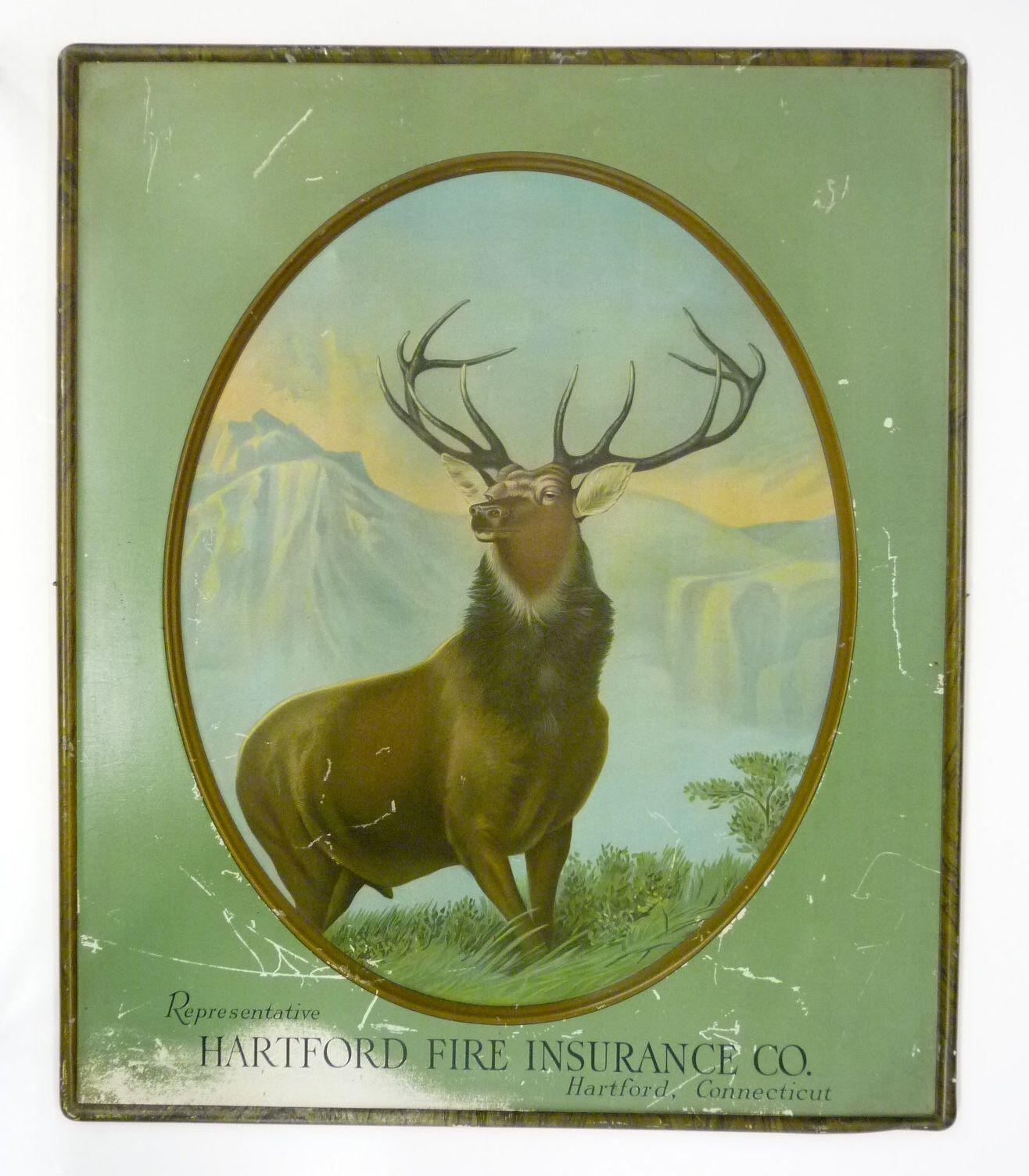 Hartford fire insurance advertising signs moose art art