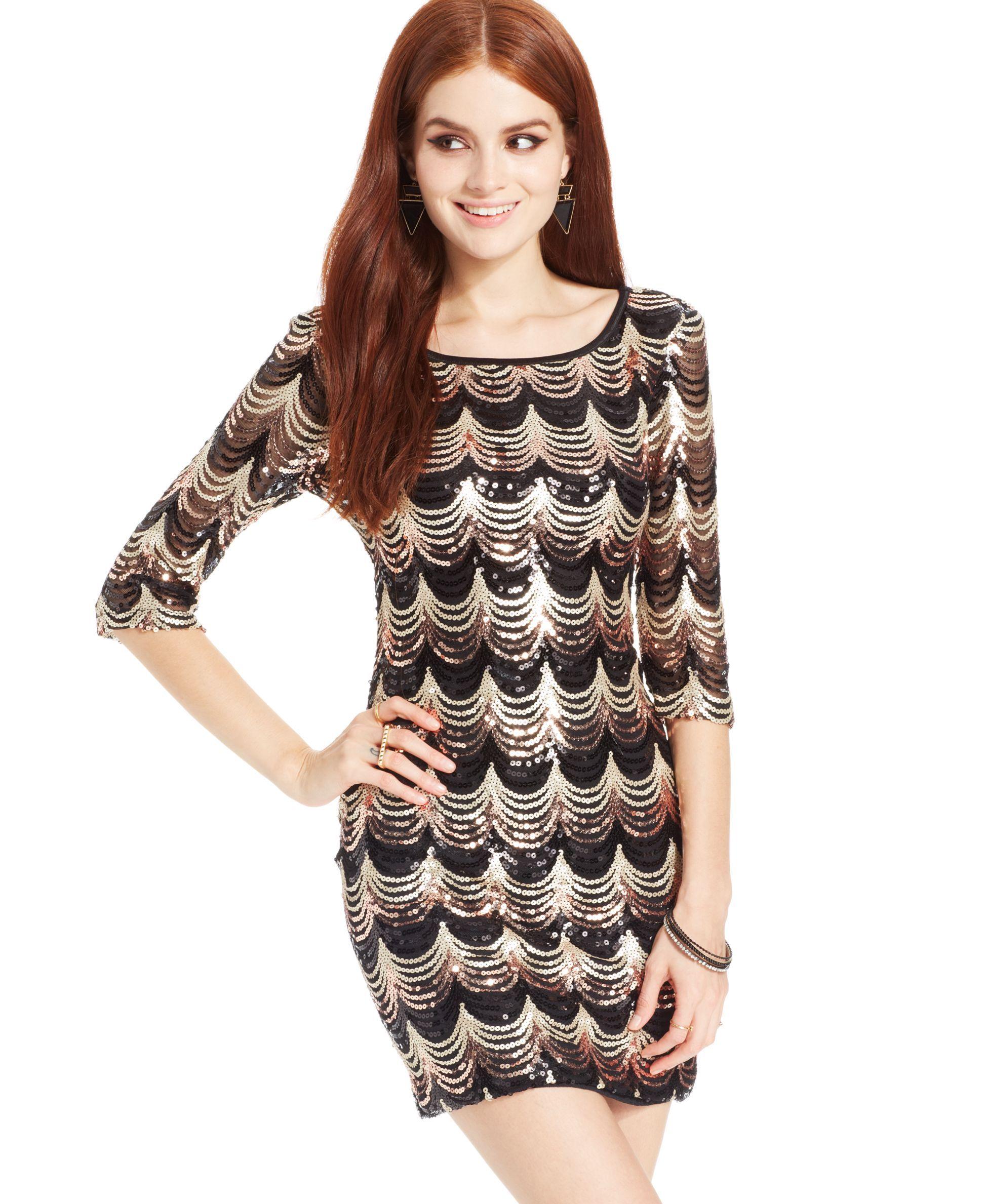 e8027d4cf68a7 Crystal Doll Juniors' Sequin Three-Quarter-Sleeve Dress | Products ...