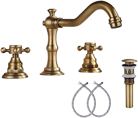 Ggstudy Black Bathroom Faucet 2 Handles 3 Holes Faucet 8 Inch Widespread Bathroom Sink In 2020 Antique Brass Faucet Bathroom Sink Faucets Antique Brass Bathroom Faucet