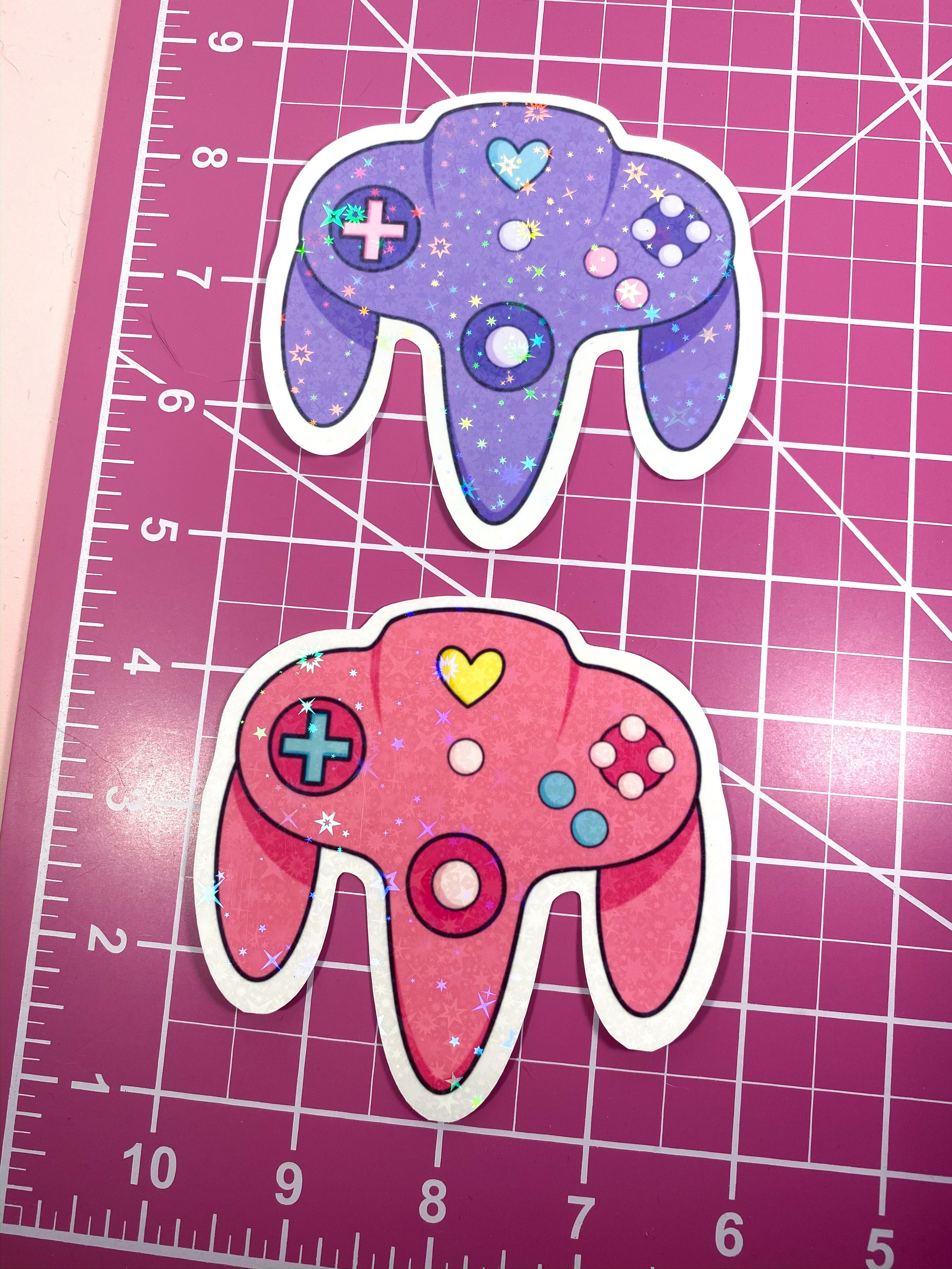 Cute gamer girl controller sticker holographic etsy