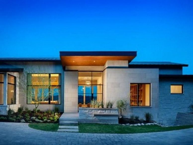 Contemporary One Story House Plans 11 Facade House Interior Decor Ideas Facade House Contemporary House Plans Flat Roof House Designs