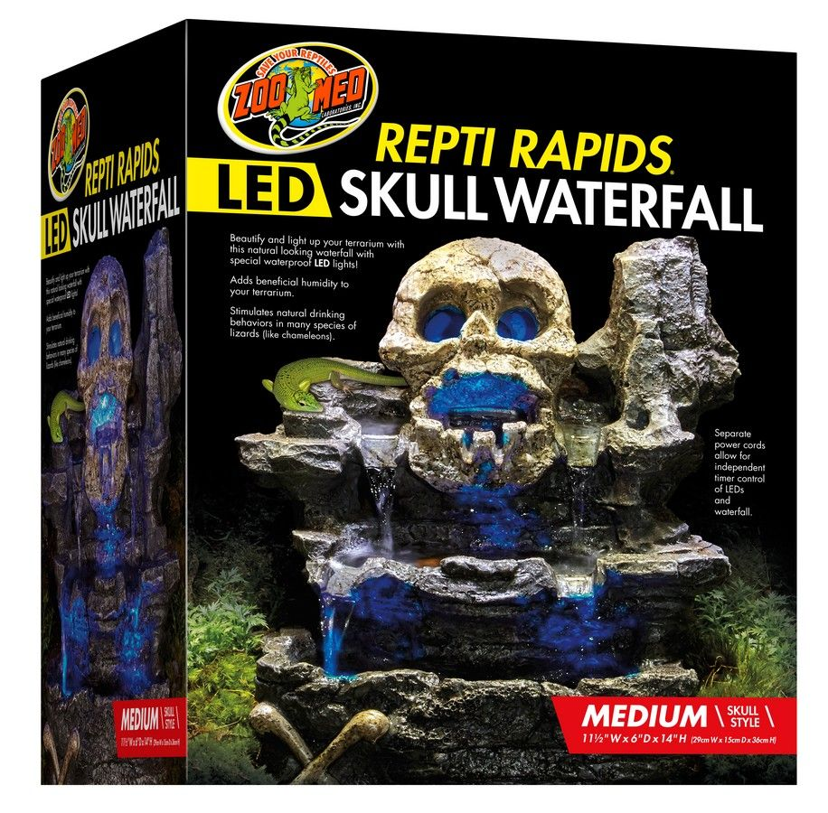 Repti rapids led waterfall u medium skull zoo med laboratories