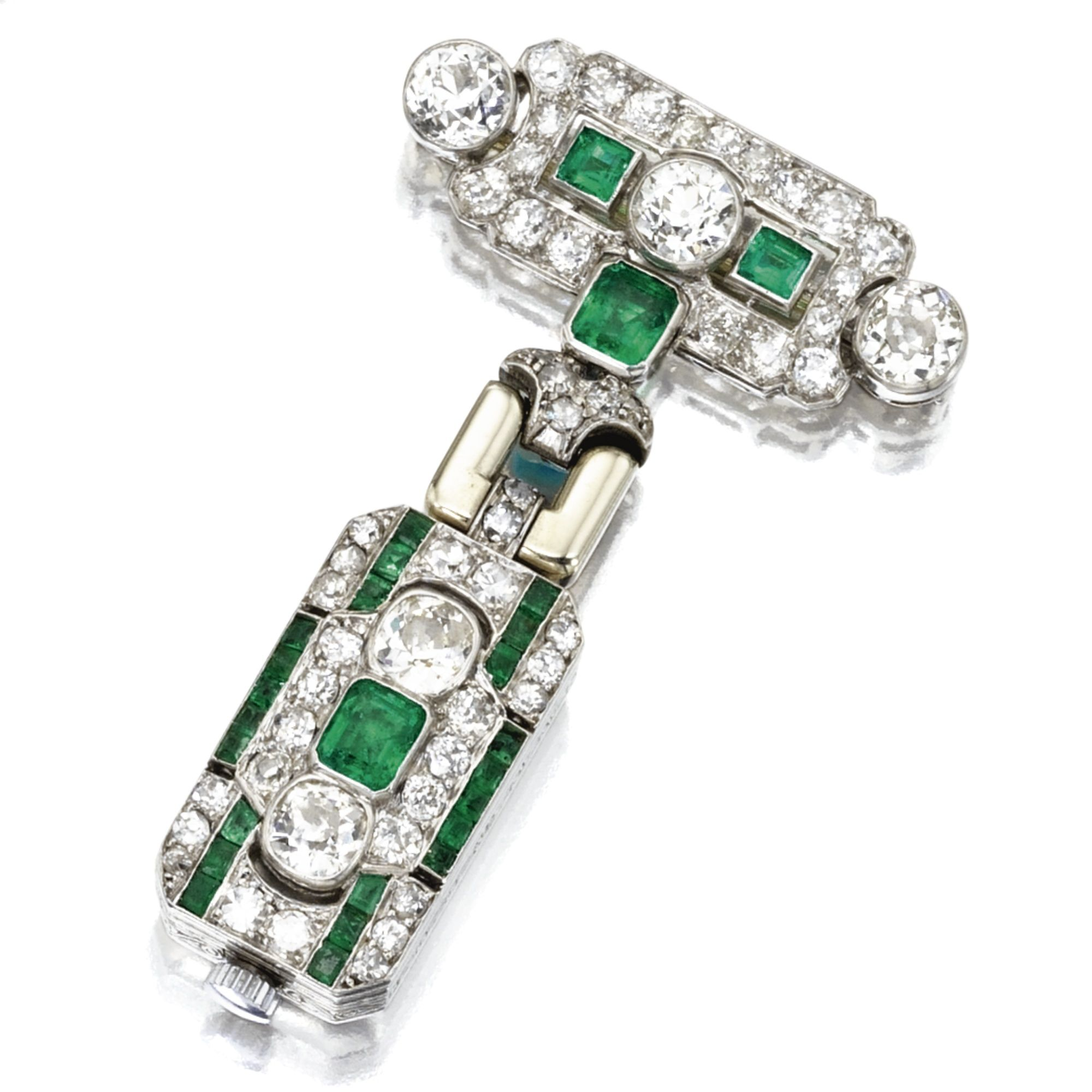 Platinum emerald and diamond pendantwatch french movement by