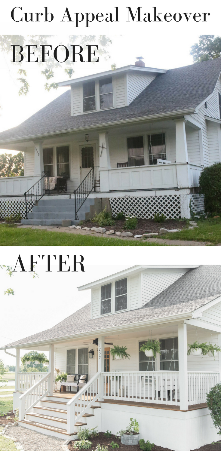 Farmhouse porch curb appeal makeover reveal curb appeal porch and