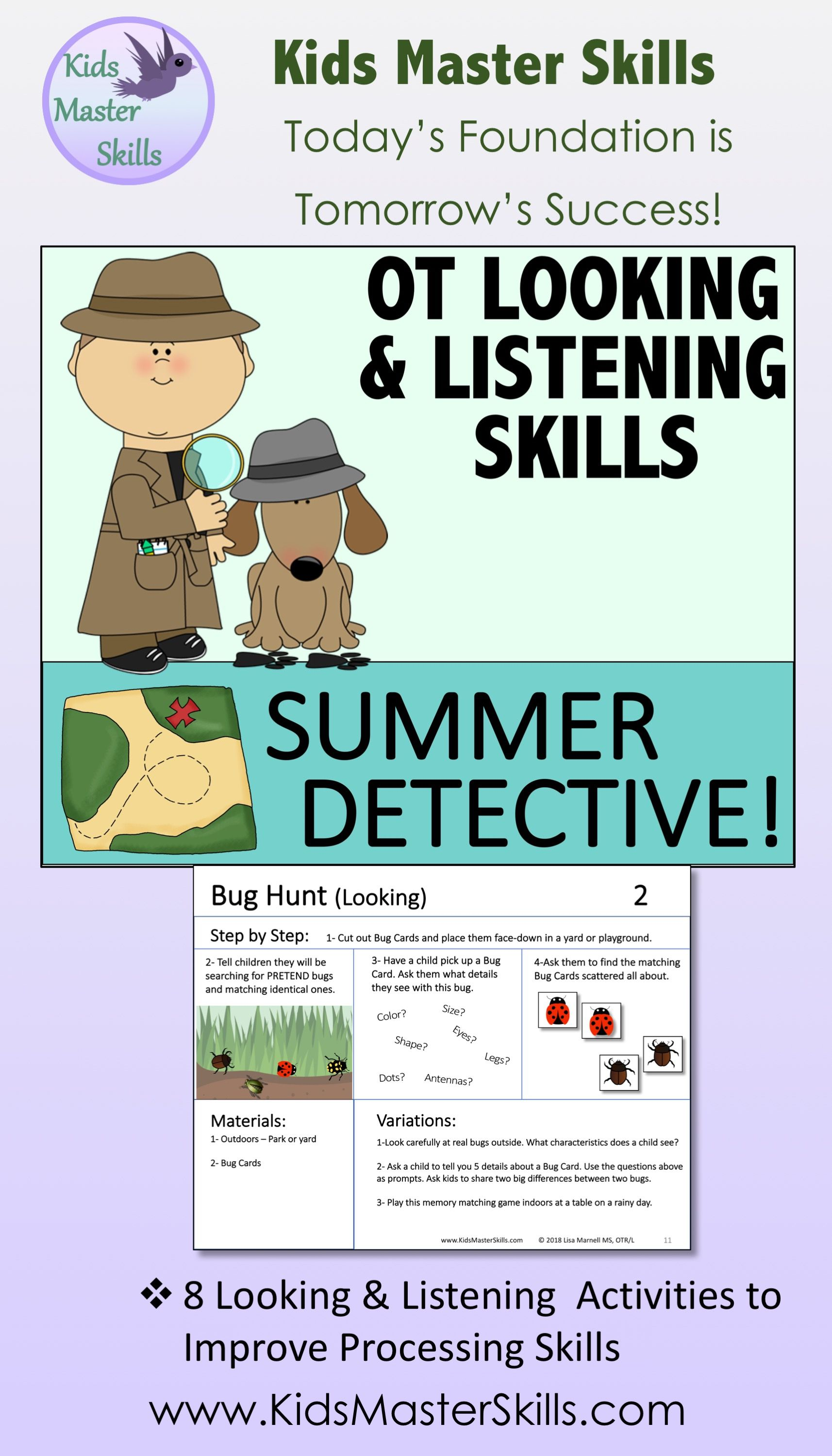 Occupational Therapy Activities To Improve Visual And Auditory Skills With A Summertime D Listening Skills Occupational Therapy Activities Occupational Therapy