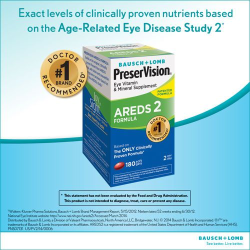 Bausch Lomb Preservision Areds 2 Formula 180 Soft Gels Eye Vitamins Gel Weight Supplement