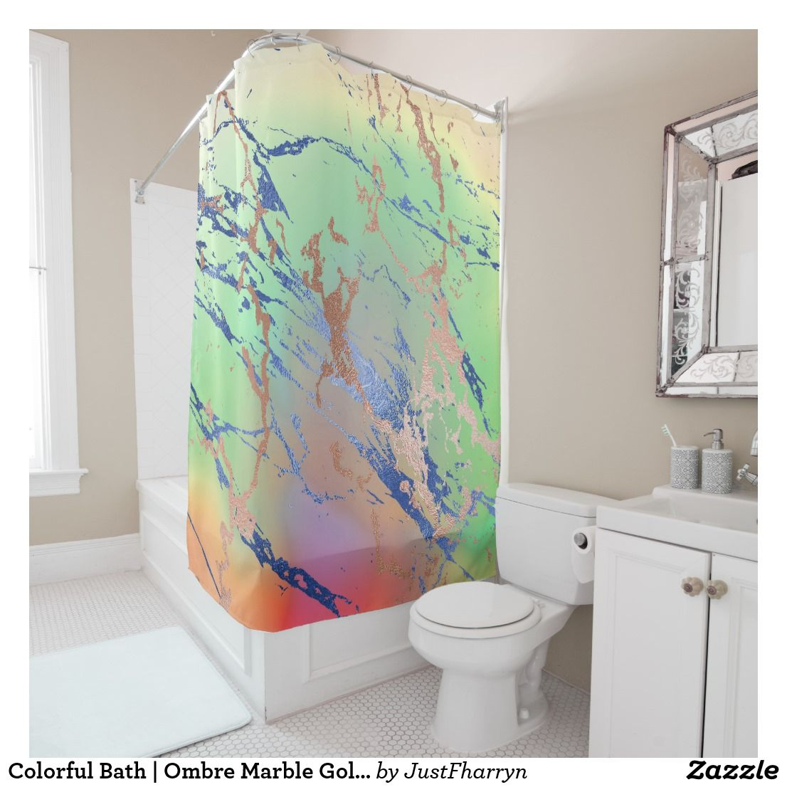 Vivid Marble Decor Colorful Yellow Orange Green Shower Curtain