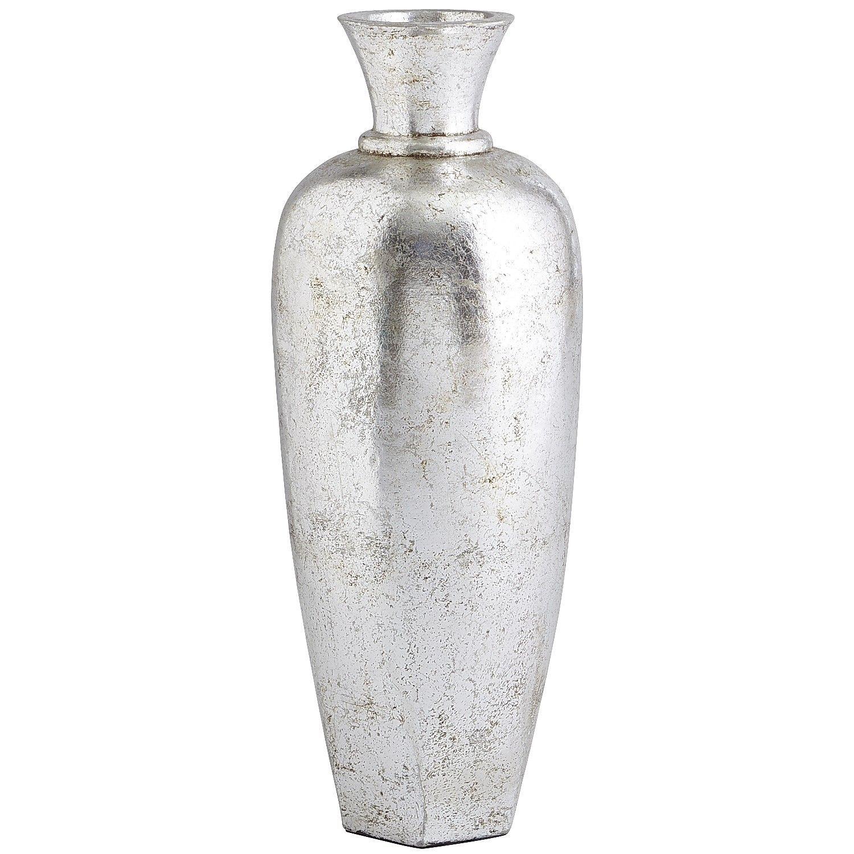 Terracotta Urn Vase Antiqued Silver Floor Vase Vases Decor Huge Vase