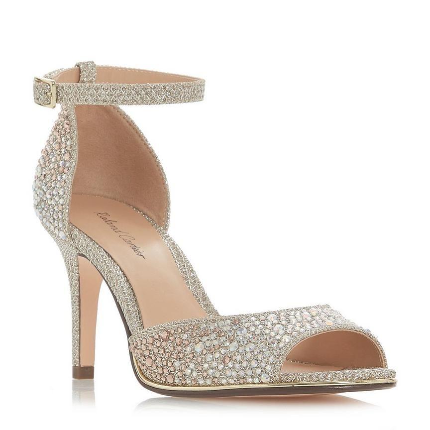 MINDA Diamante Two Part Mid Heel Sandal | Heels, Mid heel