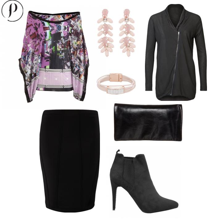 Prints & Pencil:  Las faldas de lápiz color negro son perfectas para un atuendo elegante. Agrega un toque de color con una camisa estampada y accesorios que destaquen un tono del mismo, y por supuesto, unas botas con tacón para alargar nuestras piernas.