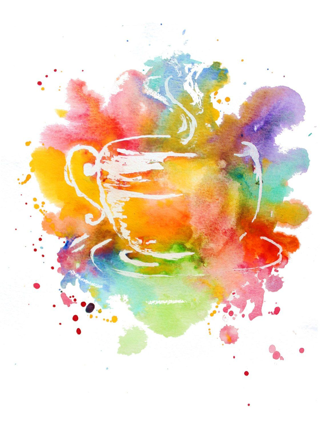 Colorful Coffee Cup Print Colorful Watercolor Design Coffee Cup