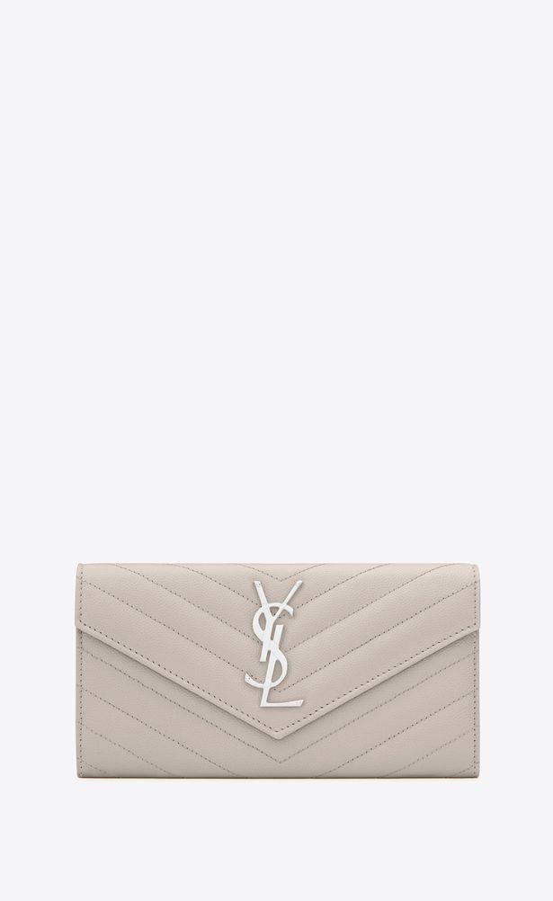 df1febe7f5 SAINT LAURENT Monogram Matelassé Woman large flap wallet in icy ...