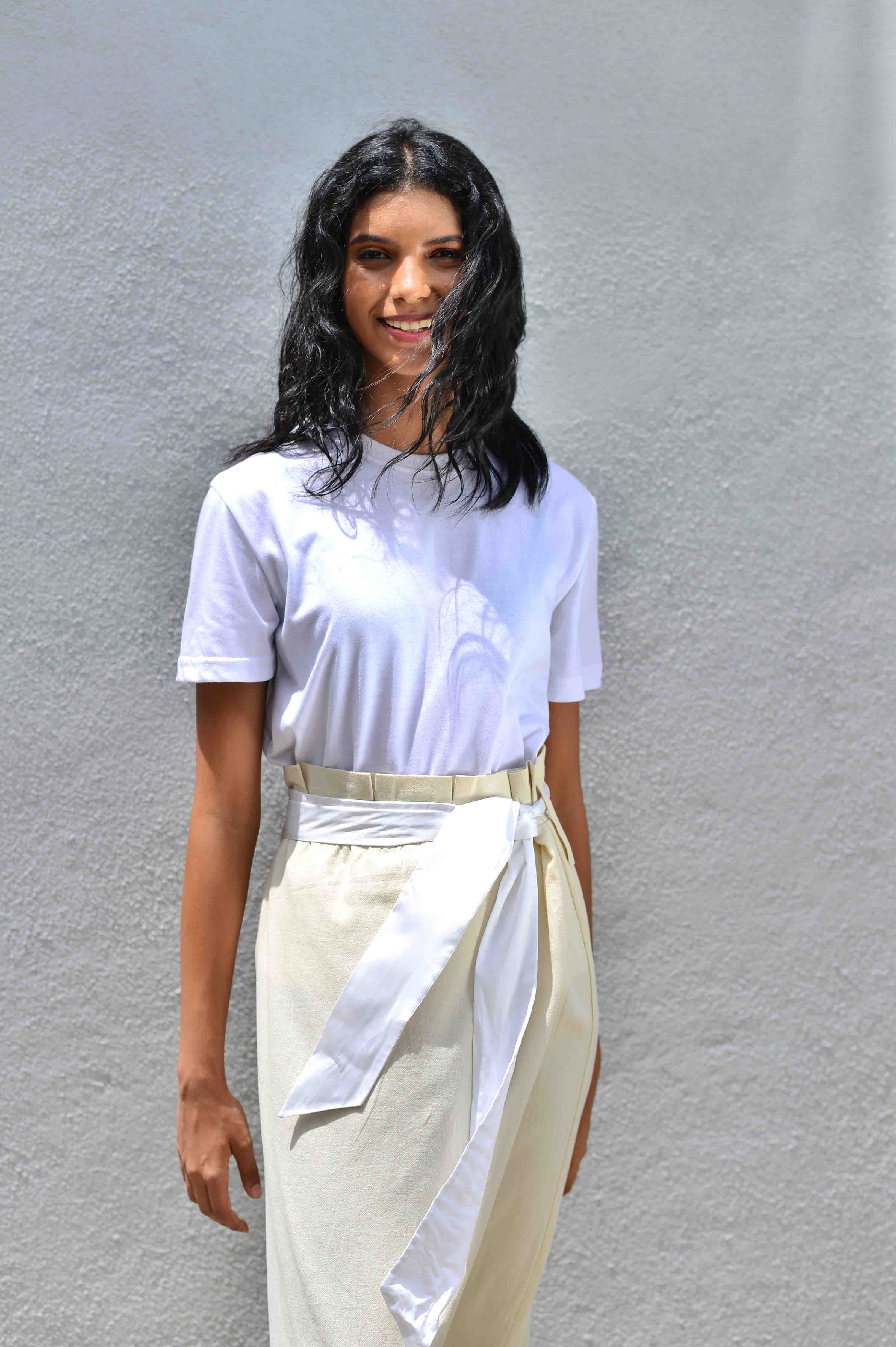 Casual Wear . Skirt . Pleated Waist Band . White On White ...