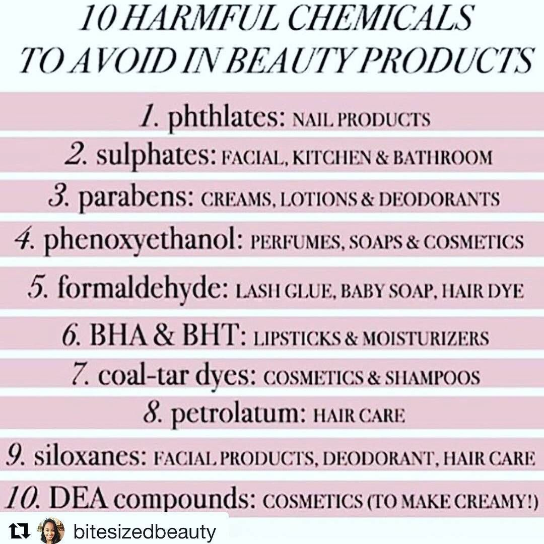 10 HARMFUL CHEMICALS TO AVOID IN BEAUTY PRODUCTS 🚭